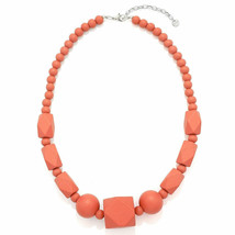 Pastel pink bead necklace made from a lightweight wood fashion jewellery design - $21.85