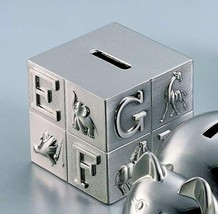 Creative Gifts International Pewter Brush Finish Alphabet Block Baby Bank - $27.39