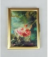 Vintage Renaissance style women on swing hinged metal photo case album p... - $27.72