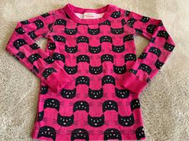Hanna Andersson Girls Pink Black Cats Snug Fit Long Sleeve Pajama Shirt ... - $9.28