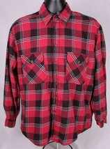 LEVI'S Flannel Shirt-M-Red Black Plaid-Outdoor-Long Sleeve - $30.84