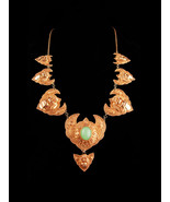 Antique demon queen Necklace - Rangda panels - gold etruscan necklace - ... - $875.00