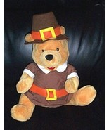 """Winnie Pooh Plush 16"""" Disney Thanksgiving Pilgrim in Outfit with Matchin... - $12.49"""
