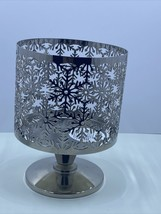 Bath & Body Works 3 Wick Candle Holder Snowflakes Christmas Silver Pedestal NEW - $15.00