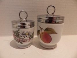 (2) Egg Coddlers Royal Worcester Evesham Peach & Country Kitchen Chamomi... - $19.79