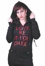 "Gods Hands ""Love Me if You Dare"" Maybille Black Fleece Hoodie NWT"