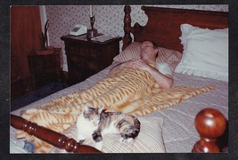 Vintage Photograph Man & Adorable Cat / Kitten Sound Asleep in Bed - $5.94