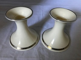 Lenox Solitaire Pair of Two Candlesticks Taper Holders With Platinum Rim... - $35.52