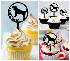 Decorations Wedding,Birthday Cupcake topper,silhouette love dog Package ... - $10.00