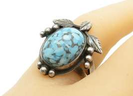JEDY 925 Silver - Vintage Turquoise Floral Leaf Cocktail Ring Sz 7 - R12861 - $28.06