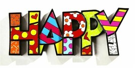 "Romero Britto the word ""Happy"" Table Shelf Decor NEW"