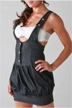 Women Stretch Black Denim Overalls Dress Tailored Slim Fit Mini Casual S... - $49.63