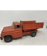 "Vintage Buddy L 1960's Red Dump Truck - Pressed Steel 14"" - $58.04"