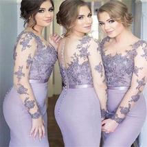Long Sleeves Mermaid Scoop Lilac Custom Bridesmaid Dresses , Wedding Party Dress - $169.00