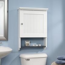 Bathroom Wall Cabinet Mount White Bath Storage Organizer Glass Door Shel... - $90.42