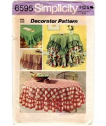 "Simplicity 6595 Home Decor Vtg Ruffled Tablecloths Round 70""/90"", Square... - $10.47"