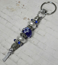 Murano Rhinestone Beaded Handmade Split Ring Keychain Hook Blue White Si... - $19.39