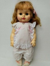 "Horsman Doll Sleepy Eyes Drink Wet 70s Ponytails 19"" Chin Dimple Soft Vinyl Vtg - $70.19"