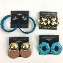 Vintage Earrings Lot Enamel Funky Doorknockers Big Hoop Pierced NOS Blue... - $11.83