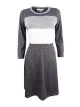 Calvin Klein Women's Metallic Colorblocked Sweater Dress 3/4 Sleeve Work... - $29.99