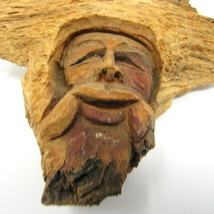 "Tree Carving Old Man Wood Forest Sprite 6 1/2"" Hobbit Face Head Elf Wizard - $62.29"