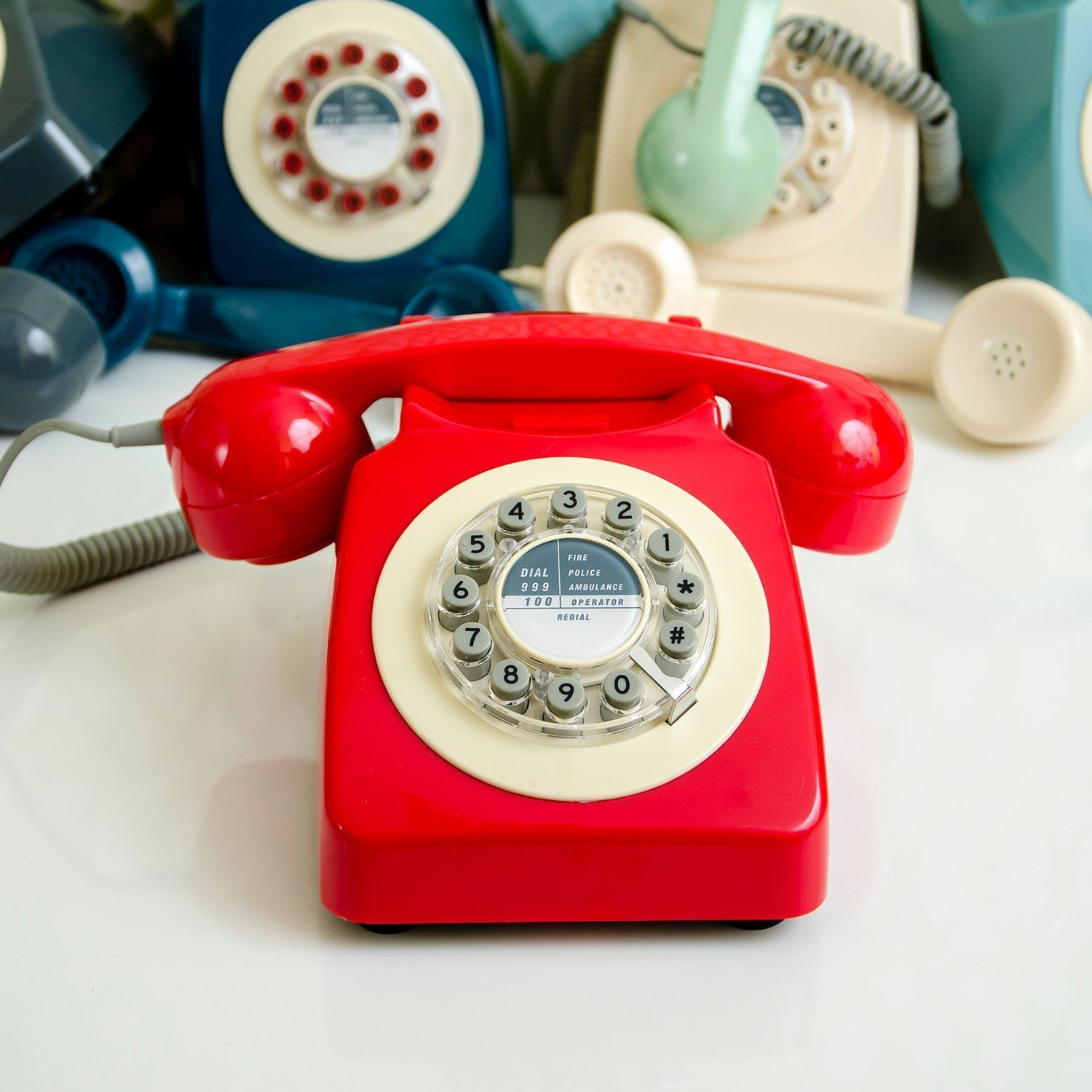 Retro Red Phone Vintage Push Button Telephone Rotary ...