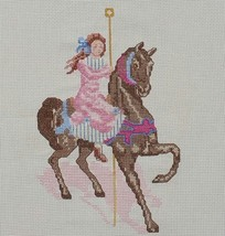 Vintage Completed Finished Needlepoint Horse Merry Go Round - $14.99