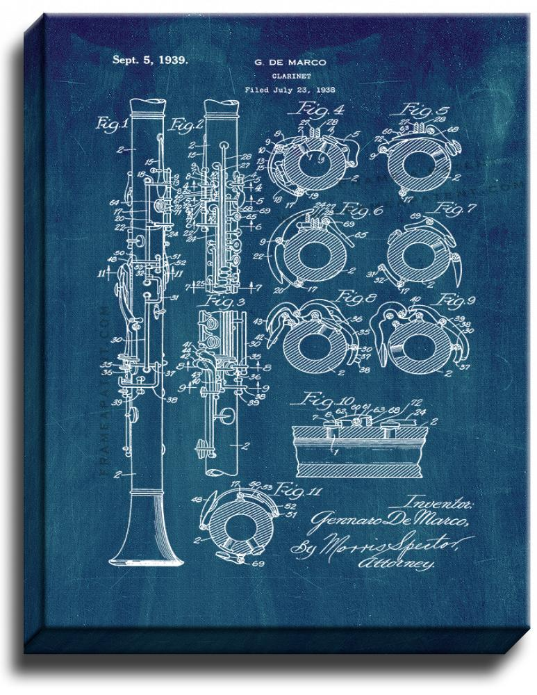Primary image for Clarinet Patent Print Midnight Blue on Canvas