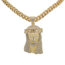 "14K Gold Plated Iced Out Lab Diamond Big Jesus Christ Pendant 24"" Cuban ... - $14.99"