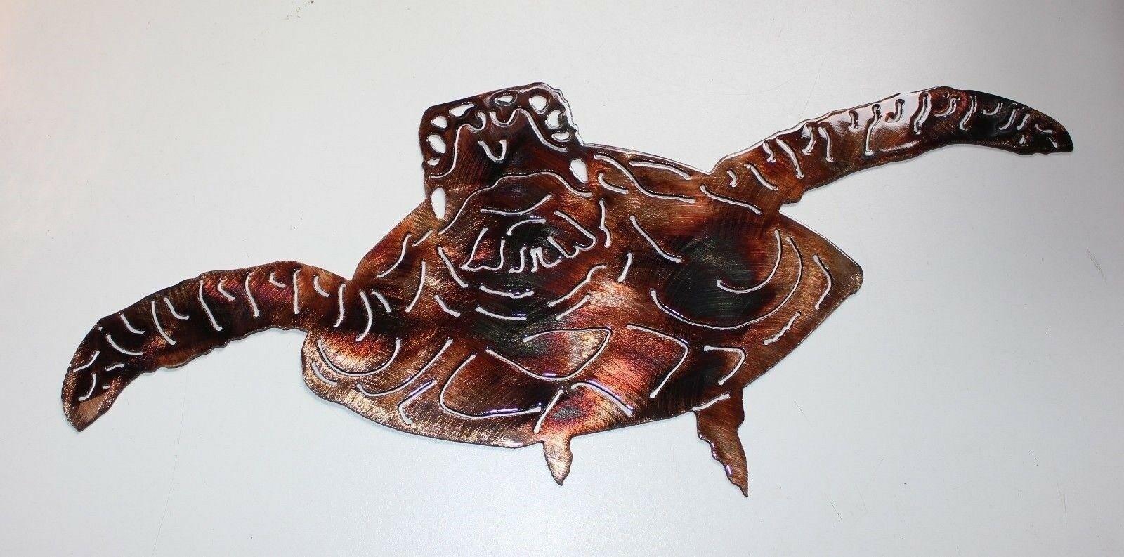 """Forward Swimming Sea Turtle Metal Decor 19"""" x 7 1/2"""" Copper/Bronze - $44.99"""