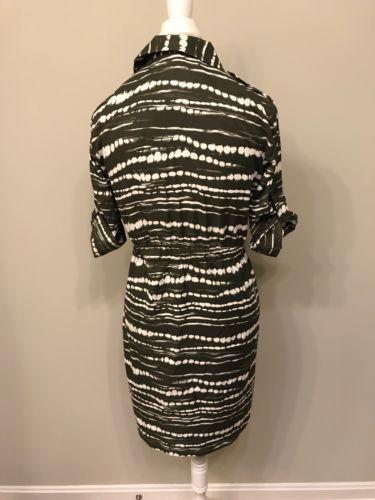 Calvin Klein Womens 6 Shirt Dress Drawstring Waist Olive Workwear Career