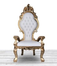 Gold and White French Italian Style Throne Chair. Tufted High Back Diamo... - $890.01
