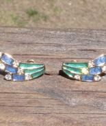 Vintage Trifari Art Deco Blue and Green Enamel Clip Earrings w White Rhi... - $75.00