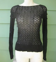 MESH LACE TOP with DANGLING FACETED CONE SHAPED BEADS VINTAGE XS/Sml SHI... - $9.49