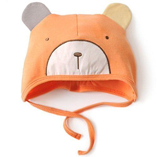 Baby Bear Hat Toddler Soft Hat Infant Cotton Hat 0-18Months (Orange)