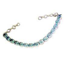 classy Blue Topaz Silver Blue Bracelet gemstones L-7.5in US - $79.19