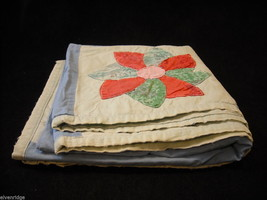 Small hand made square quilt with flowers vintage