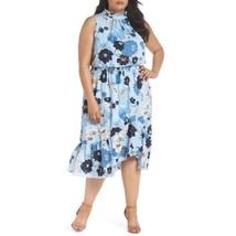 Vince Camuto Womens Blue Midi Dress Spring Floral Sleeveless Plus sz 18W... - $72.26