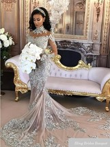 Sexy Sheer Bling Beaded Lace High Neck Illusion Long Sleeve Mermaid Bridal Gowns - $499.99