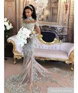 Sexy Sheer Bling Beaded Lace High Neck Illusion Long Sleeve Mermaid Brid... - $499.99