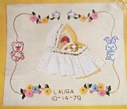 Bucilla Needlepoint Baby Sampler 14 x 16 Printed on Canvas NOS 4124 - $19.79