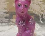 FENTON ART GLASS RASPBERRY STYLIZED CAT FIGURINE GSE LIMITED EDITION #2/15
