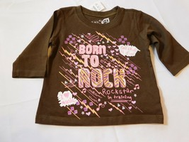 The Children's Place Baby Girl's Long Sleeve Shirt 6-9 Months Born to Rock NWT - $24.74
