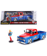 1956 Ford F-100 Pickup Truck Red and Blue with Supergirl Diecast Figure ... - $48.85