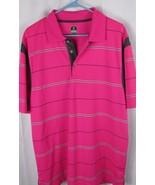 PGA TOUR Men's Pro Series Dark Pink gray striped Polo Golf Shirt Large L - $16.99