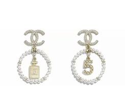 NEW Authentic Chanel 2020 Classic CC Logo Crystal PERFUME DANGLE GOLD Earrings