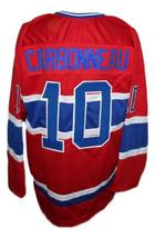Custom Name # Nova Scotia Voyageurs Retro Hockey Jersey Carbonneau Red Any Size image 2