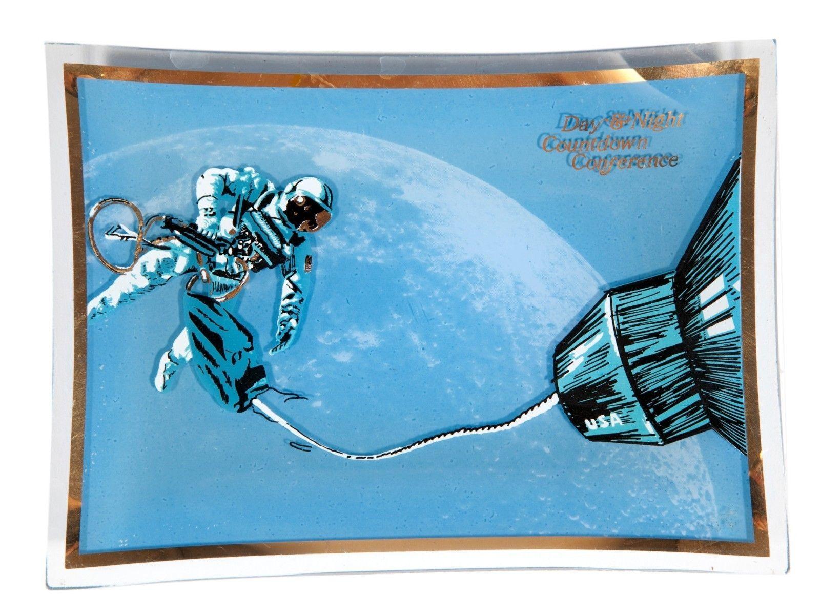 FREE SHIP: Vintage Midcentury Blue Space Theme Glass Dish - Retro Plate