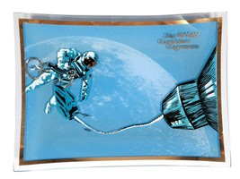 FREE SHIP: Vintage Midcentury Blue Space Theme Glass Dish - Retro Plate - $16.36