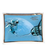 FREE SHIP: Vintage Midcentury Blue Space Theme Glass Dish - Retro Plate - $16.36